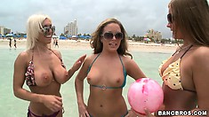 Three amazingly beautiful chicks have fun on beach and in water