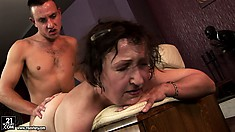 His young dick is eager to please granny, but first, she licks his hairy ass