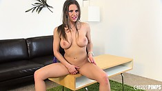 Rachel slowly caresses her nipples and her pussy and gets even more excited