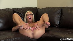 Dazzling blonde Puma Swede shows off her big round tits and tight pink pussy