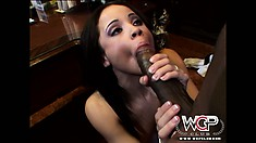 Stunning brunette with pretty tits and a hot ass feeds her passion for black cock