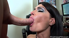 The busty babe works her lips all over that rod and gets her face covered with cum
