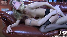 Blond cutie in stockings impaling her round ass on a meaty shaft