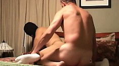 Hung stud with a chiseled ass mounts on his bitch and fucks him