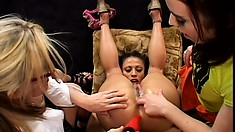Horny lesbians get creative as they try out many new sex toys