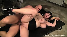 Chubby, big tit Beverly Paige gets them big boobs flopping while fucking