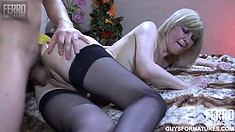 Horny blonde cougar Amelia has a young stud fucking her wet cunt like she deserves