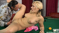 Flossie can't wait to have her tight beaver drilled by hung Morgan