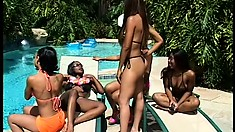Skinny black beauties have a hardcore pool party with their toys