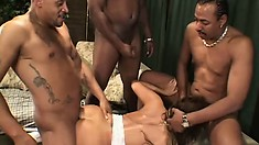Ava Devine gets creampied by two massive bulging jackhammers