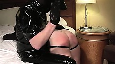 Kinky gay man gets his ass spanked hard and wraps his lips around a big dick