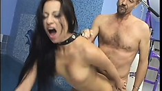 Sweet young brunette gets blindfolded and deeply mouth-fucked
