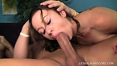 Lusty daughter Mae Meyers gets into a threesome with her sexy mom