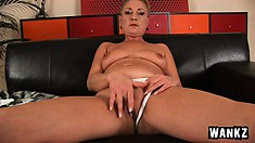 Short haired blonde mom Bettany lets the young stud take a ride in her mature twat