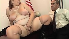 Chunky bimbo is desperate to get pounded hard until she squeals