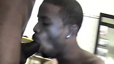 Two cock-hungry black guys go down on each other's monster dicks