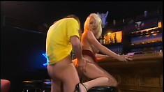 Smoking hot blonde bitch gets her holes stuffed after an interview
