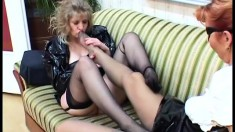 Mature lesbians in latex go all the way and lick everything they like