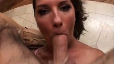 Horny tramp rides the long stick of meat she'd been craving so badly