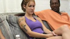 Hot Allie Sin gets picked up at a public place and fucked by two guys