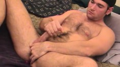 Macho dude Austin teases his butthole with toys as he rubs his shaft