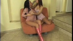Two fresh young lesbians play around with each other's tight holes