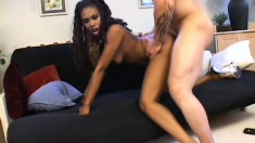 Gorgeous ebony girl Vivica gets pounded hard by a muscled white stud