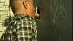 After blowjobs in the gloryhole, these two gay guys fuck each other