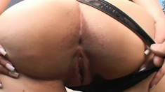 Curvy babe shows off her body and surrenders her pussy to a black stud