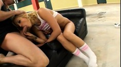 Adorable blonde slides a rod in her mouth before it invades her holes like she desires