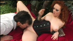 A filthy redhead begs to have her ass filled up in an outdoor scene