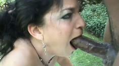 Lusty Kacie Hunt adores the taste of this black stud's stiff meat