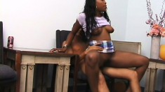 Black babe lets a white dude try out some ebony pussy and he dives in
