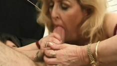Mature starlet Kitty Fox juices a monumental rod of pleasure