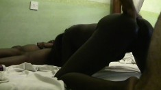 Ebony African babe tries out her first white rod and gets pumped hard