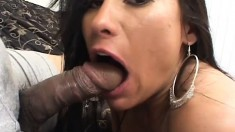 Dark-haired piece of tail loves to get her behind stretched out