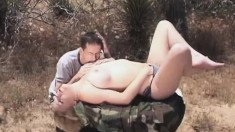Smoking hot blonde nympho gets her wild snatch tamed outdoors