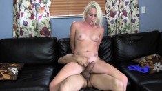 Slutty blonde bitch fucks his man meat and gets a warm facial