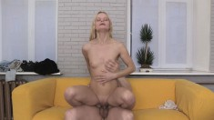 Petite young blonde strips to let in a monumental rod of pleasure
