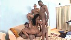 Fascinating ebony babe with a big booty Aline fucks three black cocks