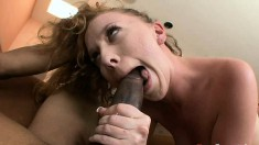 Buxom redhead with wonderful tits Leighlani Red fucks a huge black rod