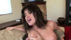 Wild schoolgirl with big boobs Sadie West gets nailed hard on the sofa