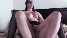 Smoking hot brunette wife gets blindfolded and fucked balls deep