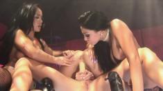 Mya Luanna uses a light up dildo and then has a lesbian orgy