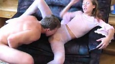 Sexy blonde rips her tight pantyhose and gets her pussy pounded good