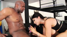 Buxom Romi Rain takes a huge black pole up her butt for the first time