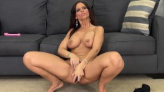 Horny redhead milf Syren De Mer shows off her curves and masturbates