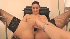 Elegant girl in black stockings enjoys a hard pounding in the clinic