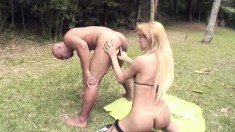 Bald stallion loves to ride a shemale's throbbing meat stick