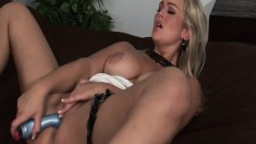 Voluptuous blonde Abbey Brooks drops her panties and pleases her cunt